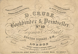 Advert For D. Cruse, Bookbinder & Printseller